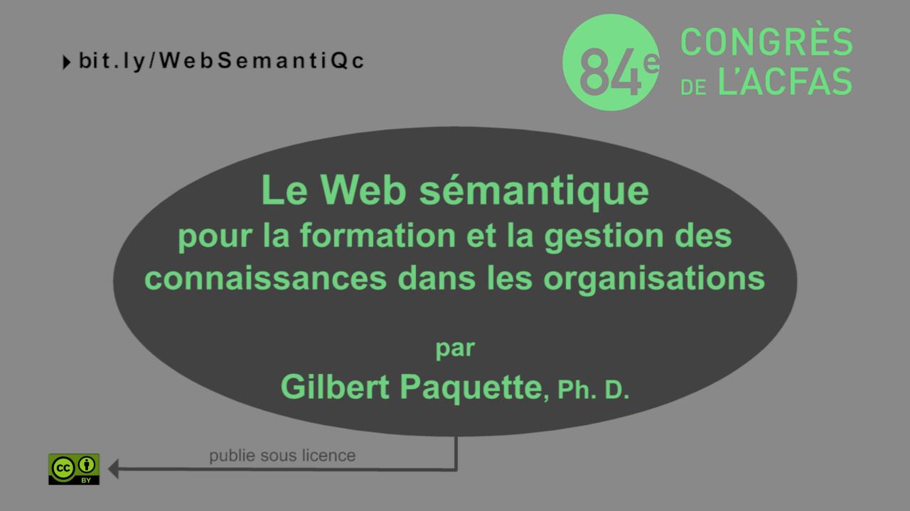 Apport du web sémantique pour la formation et la gestion des connaissances dans les organisations