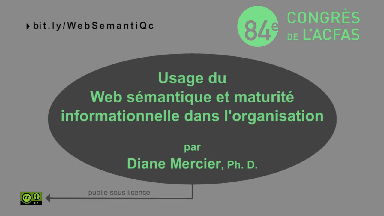 Usage du web sémantique et maturité informationnelle de l'organisation
